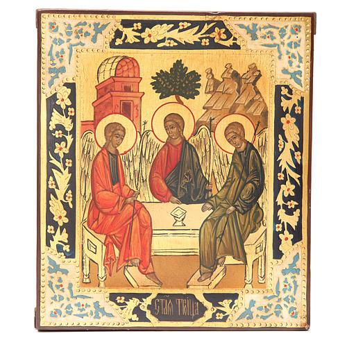 Icona russa antica Santa Trinità XX secolo Restaurata 1