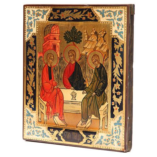 Icona russa antica Santa Trinità XX secolo Restaurata 2