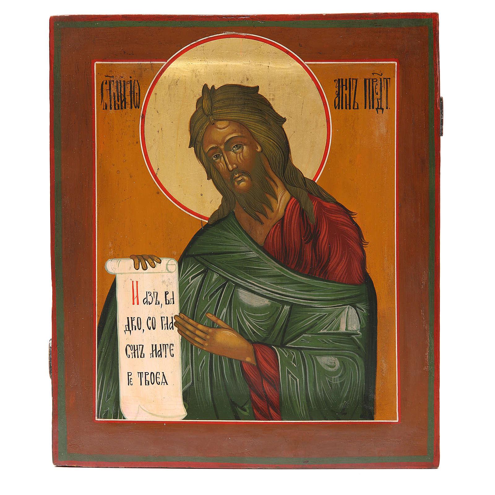 Icona russa antica S. Giovanni Battista XIX secolo Restaurata 4