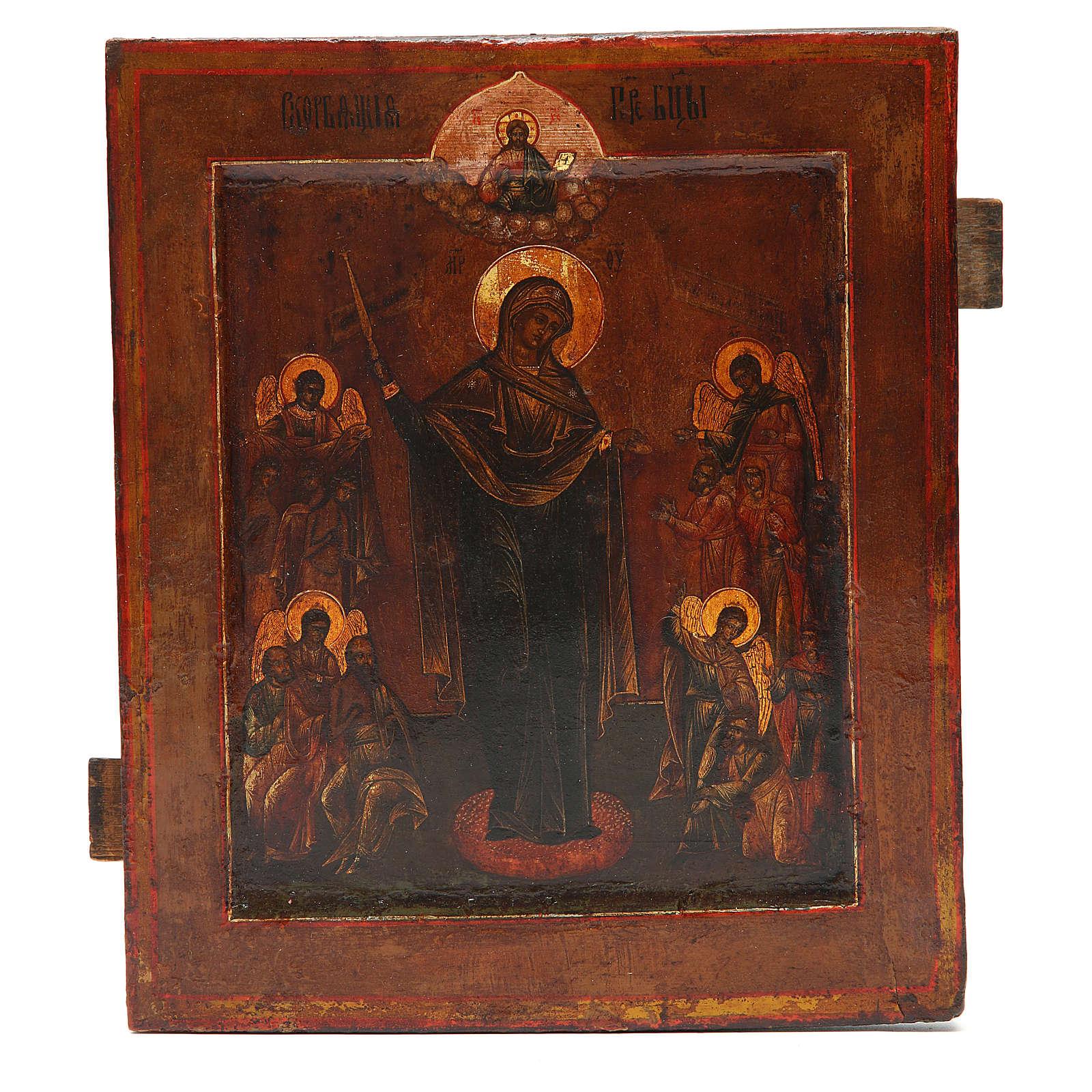 Icona antica russa Madonna del Pianto XIX secolo 4