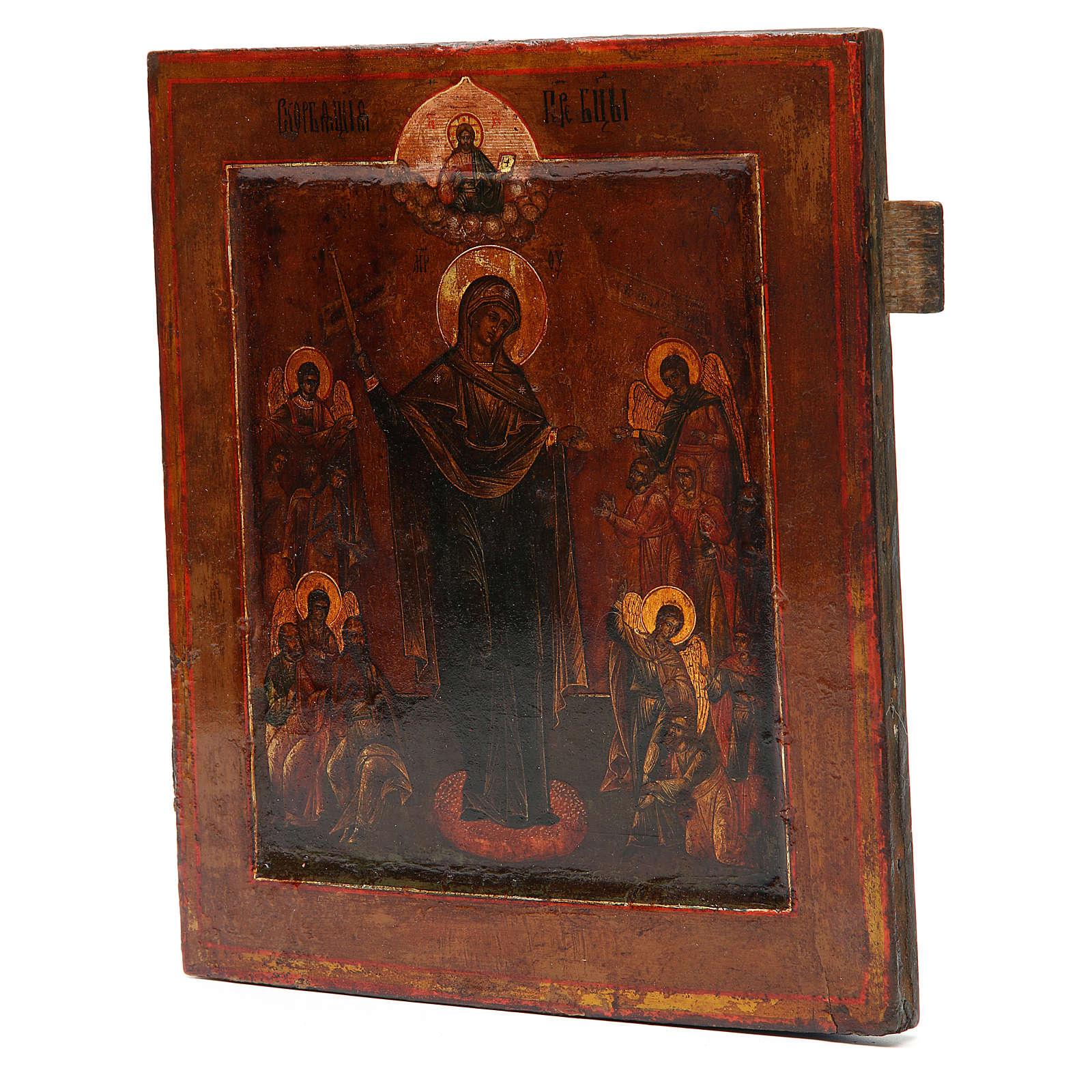 Ícone antigo russo Nossa Senhora Alegria de Todos os Sofredores século 19 4