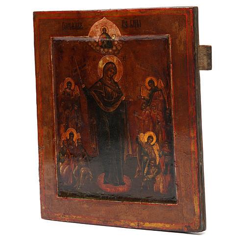 Ícone antigo russo Nossa Senhora Alegria de Todos os Sofredores século 19 2
