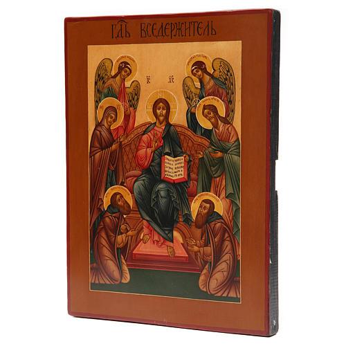 Icona antica russa Pantocratore XIX secolo Restaurata 2