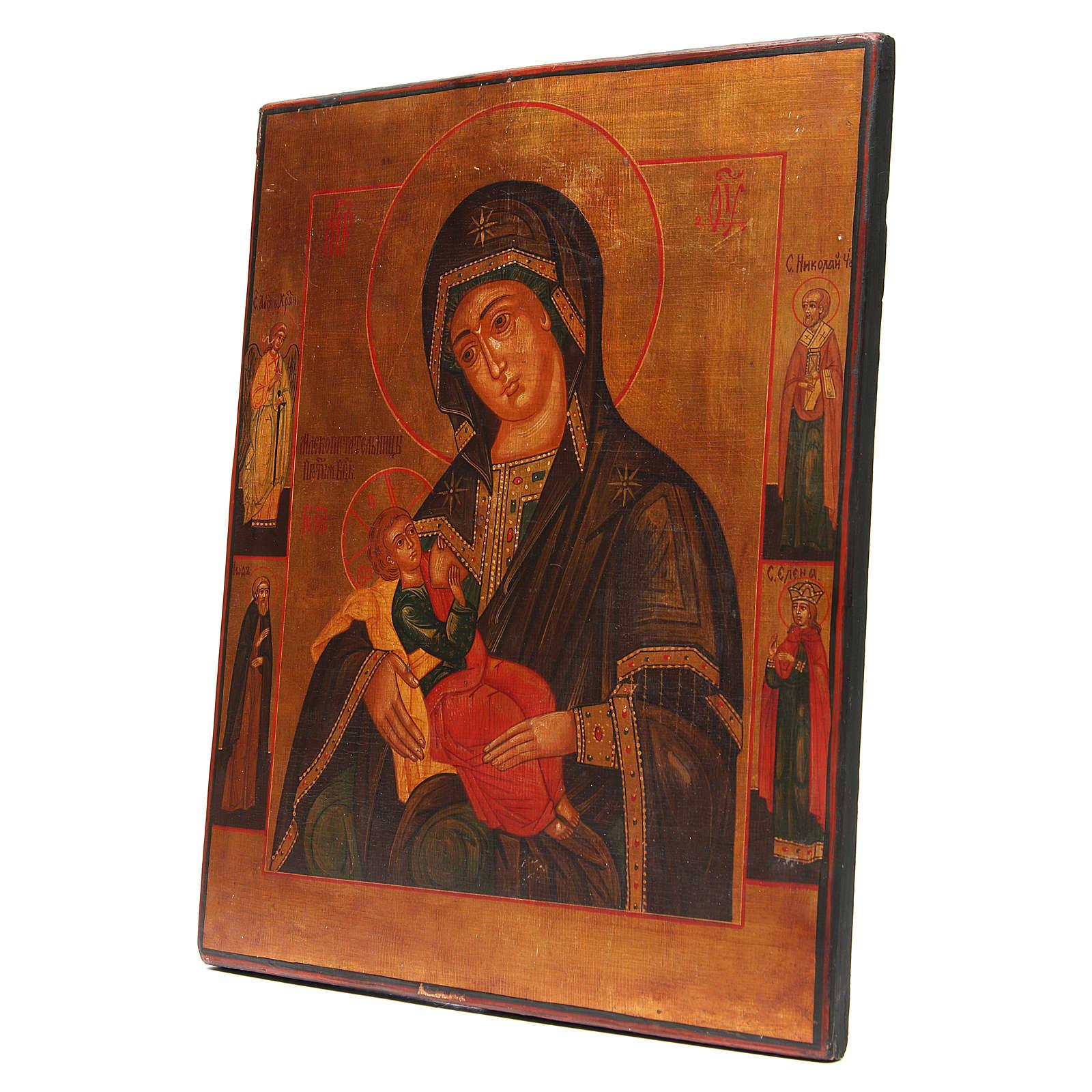 Icona antica russa Madonna del Latte Restaurata XX secolo 4