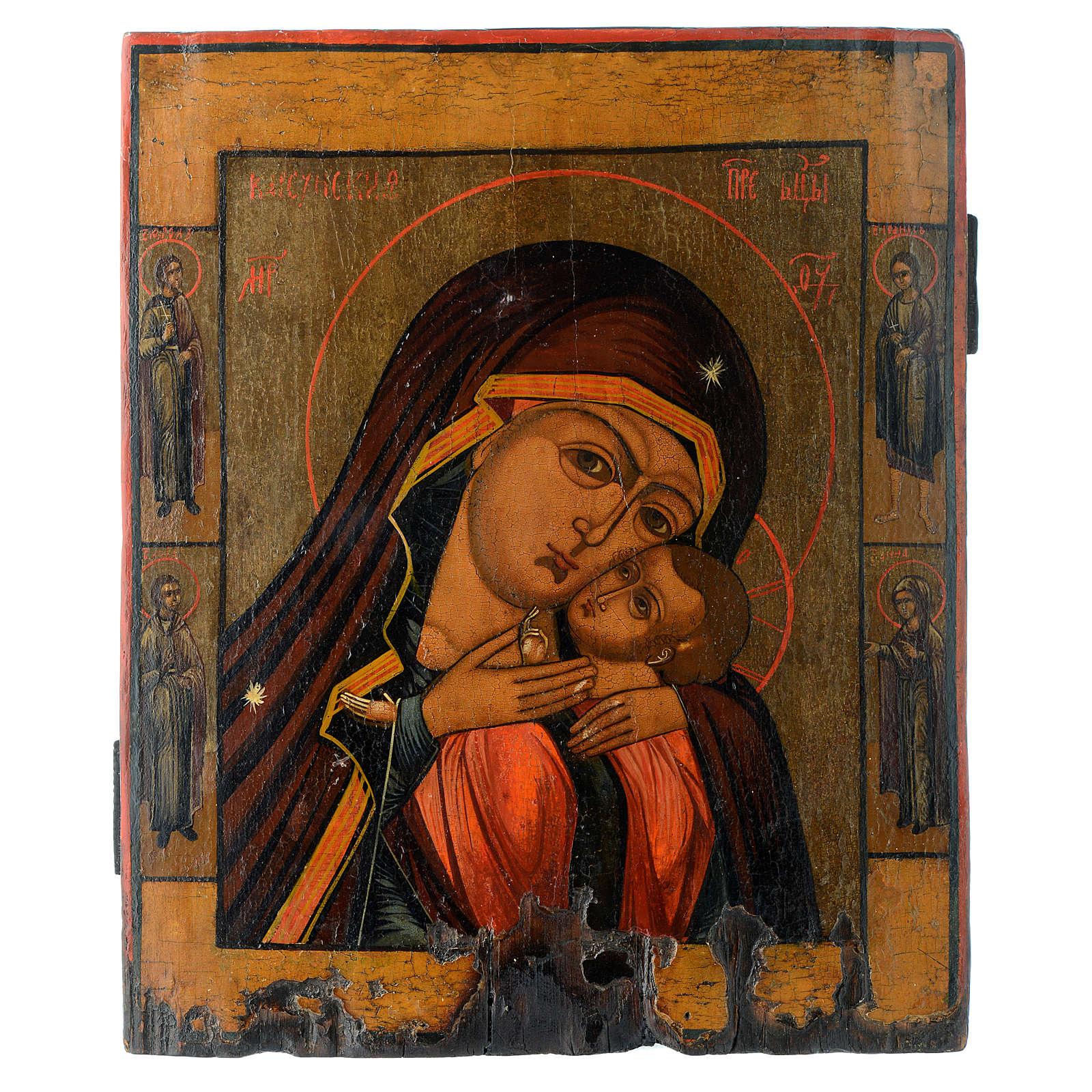 Icona antica russa Madonna di Korsun 35x30 cm XIX secolo 4