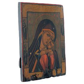 Icona antica russa Madonna di Korsun 35x30 cm XIX secolo s3