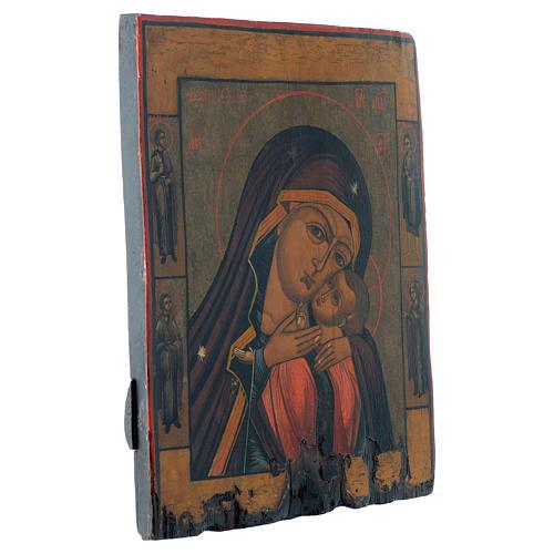 Icona antica russa Madonna di Korsun 35x30 cm XIX secolo 3