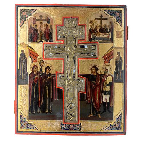 Icono antiguo ruso Crucifixión (Estauroteca) 35 x 30 cm 1