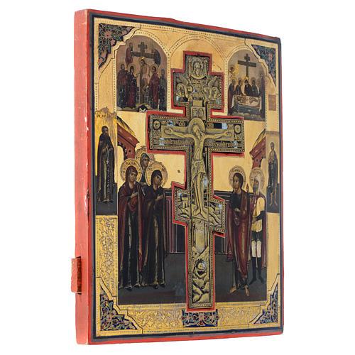 Icono antiguo ruso Crucifixión (Estauroteca) 35 x 30 cm 3