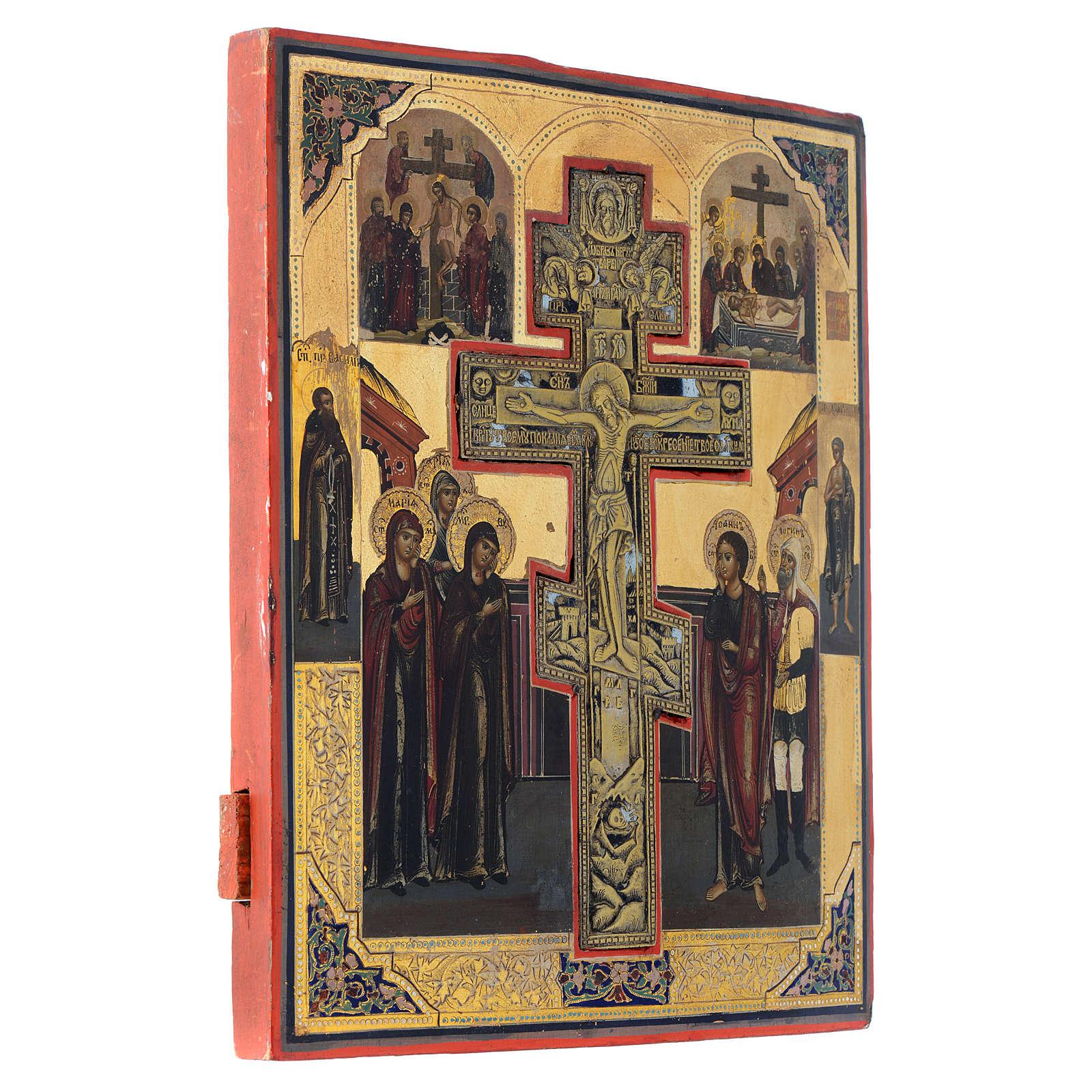 Icône ancienne russe Crucifixion (Staurothèque) 35x30 cm 4
