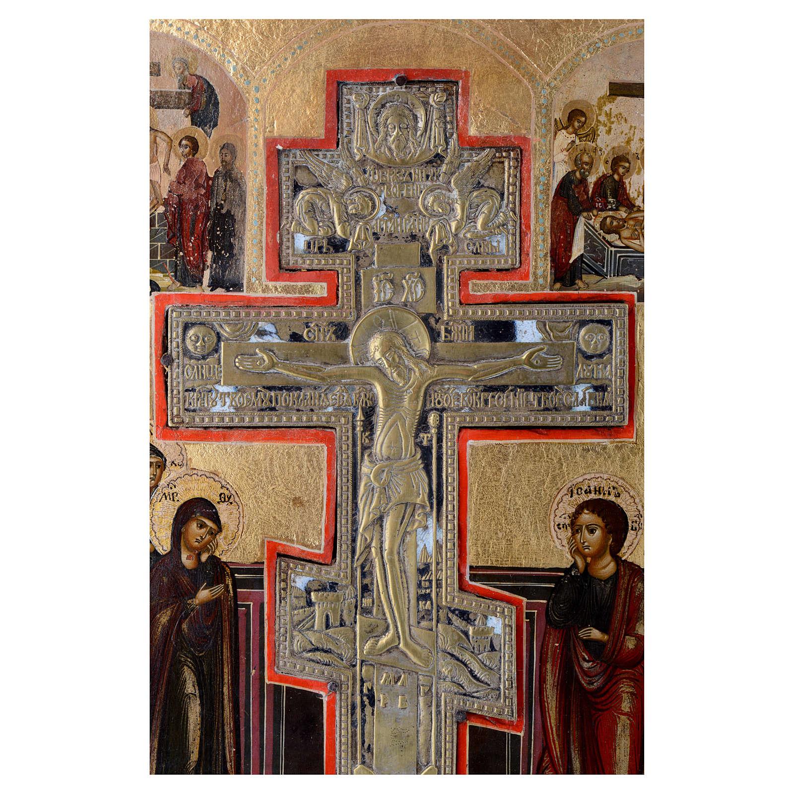 Icona antica russa Crocifissione (Stauroteca) 35x30 cm 4