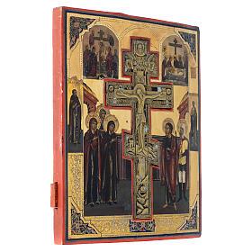 Icona antica russa Crocifissione (Stauroteca) 35x30 cm s3