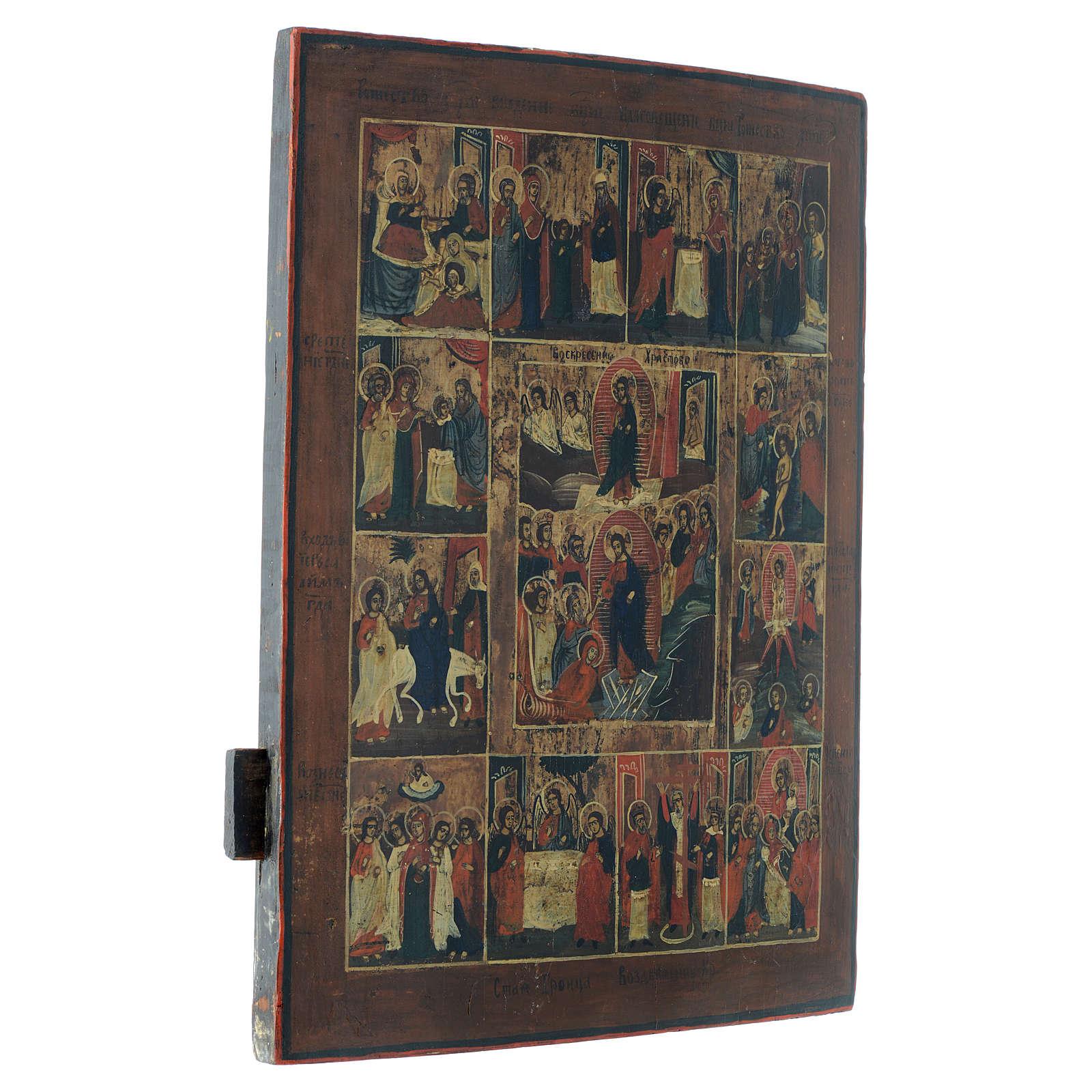 Icona russa antica 12 feste e Resurrezione 50x40 inizio XIX sec 4