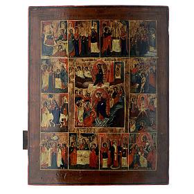 Icona russa antica 12 feste e Resurrezione 50x40 inizio XIX sec s1