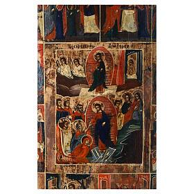Icona russa antica 12 feste e Resurrezione 50x40 inizio XIX sec s2