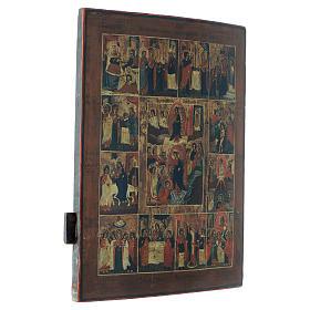 Icona russa antica 12 feste e Resurrezione 50x40 inizio XIX sec s3