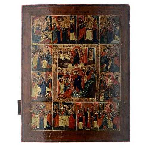 Icona russa antica 12 feste e Resurrezione 50x40 inizio XIX sec 1