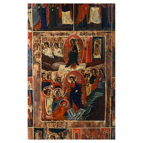 Icona russa antica 12 feste e Resurrezione 50x40 inizio XIX sec 2