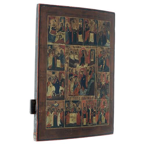 Icona russa antica 12 feste e Resurrezione 50x40 inizio XIX sec 3