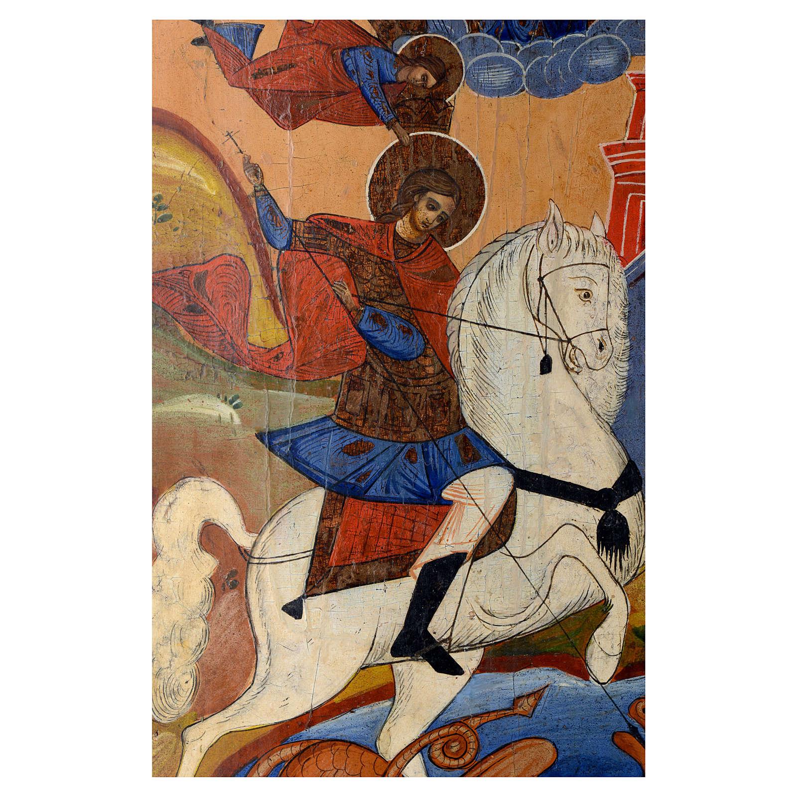 Icona russa antica San Giorgio e drago 35x30 cm inizio XIX sec 4