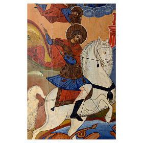 Icona russa antica San Giorgio e drago 35x30 cm inizio XIX sec s2