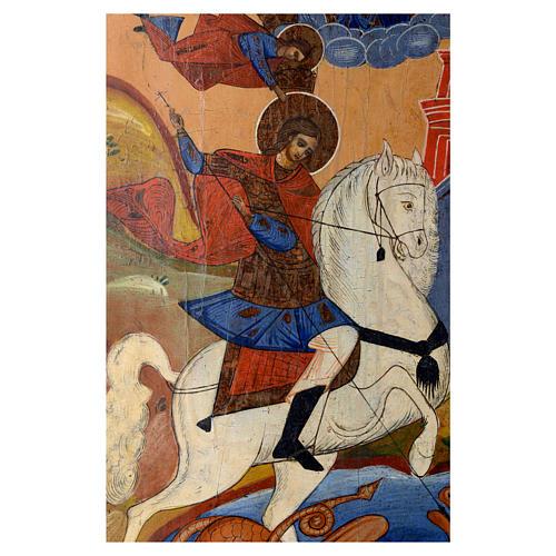 Icona russa antica San Giorgio e drago 35x30 cm inizio XIX sec 2