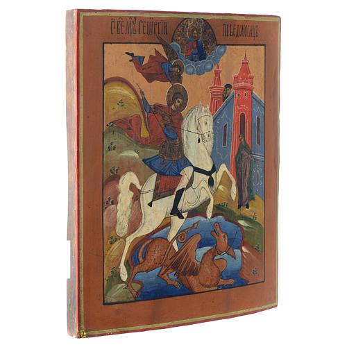 Icona russa antica San Giorgio e drago 35x30 cm inizio XIX sec 3