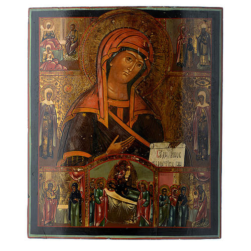 Trittico icona russa antica Deesis (intercessione) 45x35 cm 6