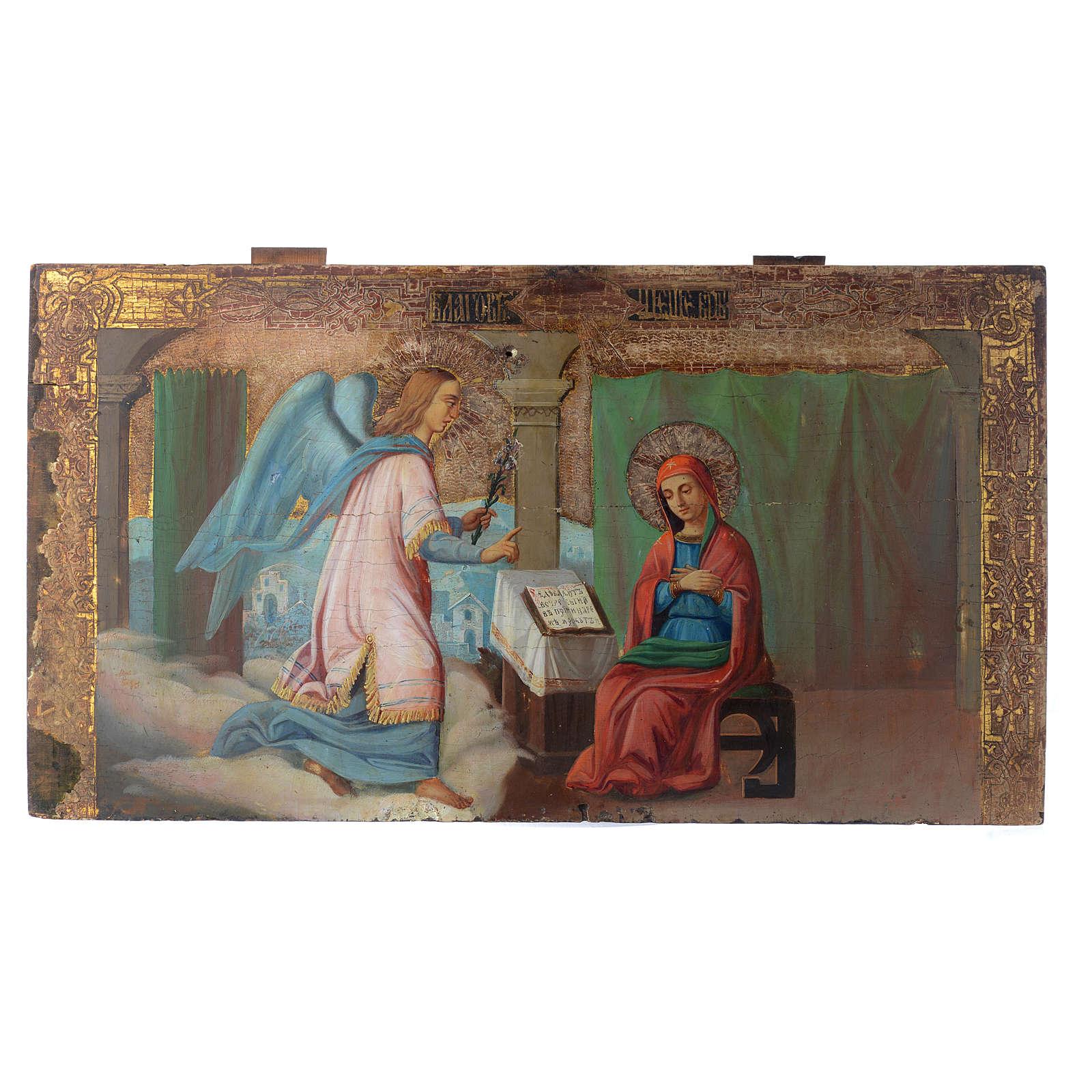 Icona russa antica Annunciazione Yaroslav 35x64 cm XVIII sec 4