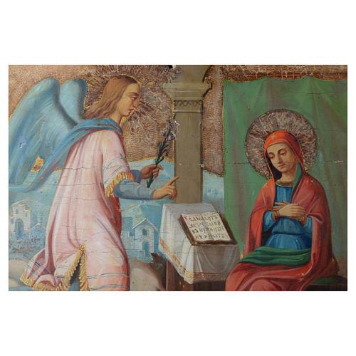 Icona russa antica Annunciazione Yaroslav 35x64 cm XVIII sec 2