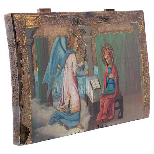 Icona russa antica Annunciazione Yaroslav 35x64 cm XVIII sec 3