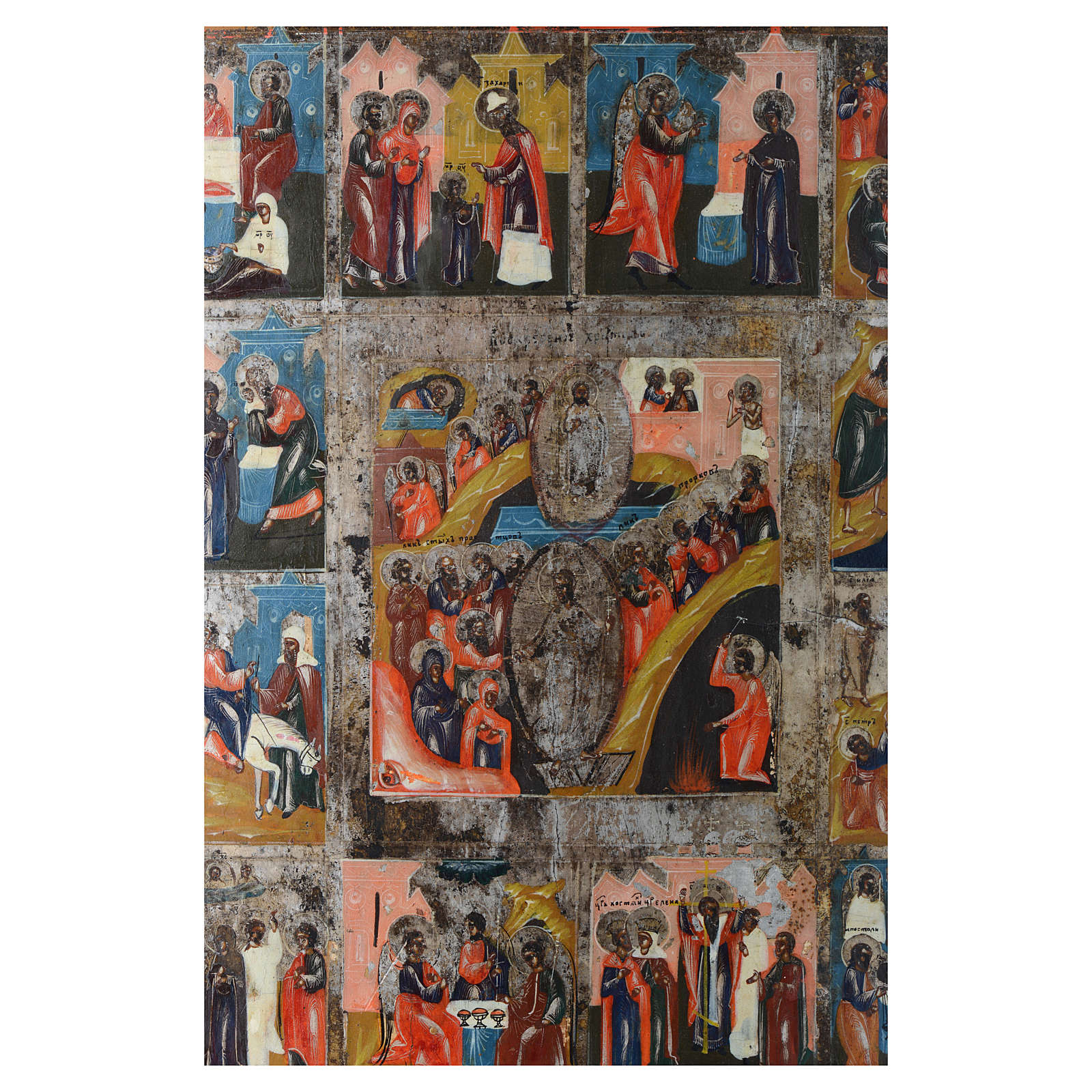 Icona antica russa 12 feste e Resurrezione 35x30 - XIX sec 4