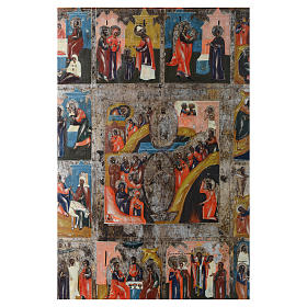 Icona antica russa 12 feste e Resurrezione 35x30 - XIX sec s2