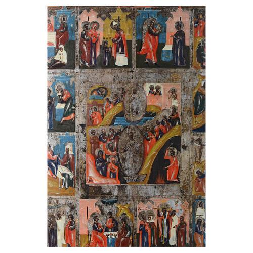 Icona antica russa 12 feste e Resurrezione 35x30 - XIX sec 2