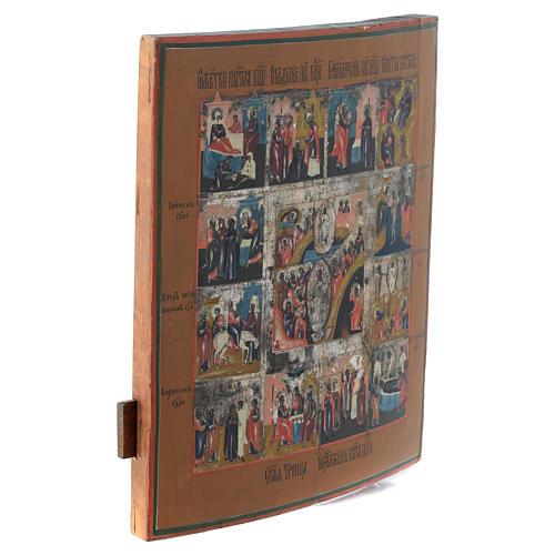 Icona antica russa 12 feste e Resurrezione 35x30 - XIX sec 3