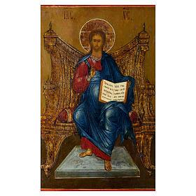 Icona russa antica Cristo sul Trono (Il Re dei Re) 35x30 cm s2