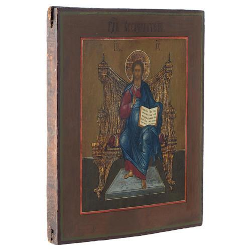 Icona russa antica Cristo sul Trono (Il Re dei Re) 35x30 cm 3