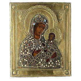 Icona russa antica Madonna di Tichvin 35x30 cm s1