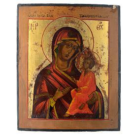 Icona russa antica Madonna di Tichvin 35x30 cm s2