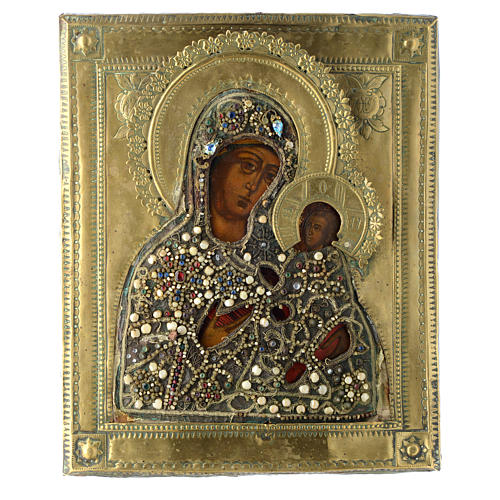 Icona russa antica Madonna di Tichvin 35x30 cm 1
