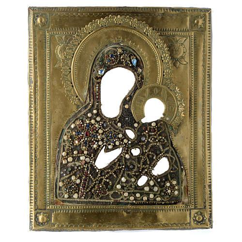 Icona russa antica Madonna di Tichvin 35x30 cm 3