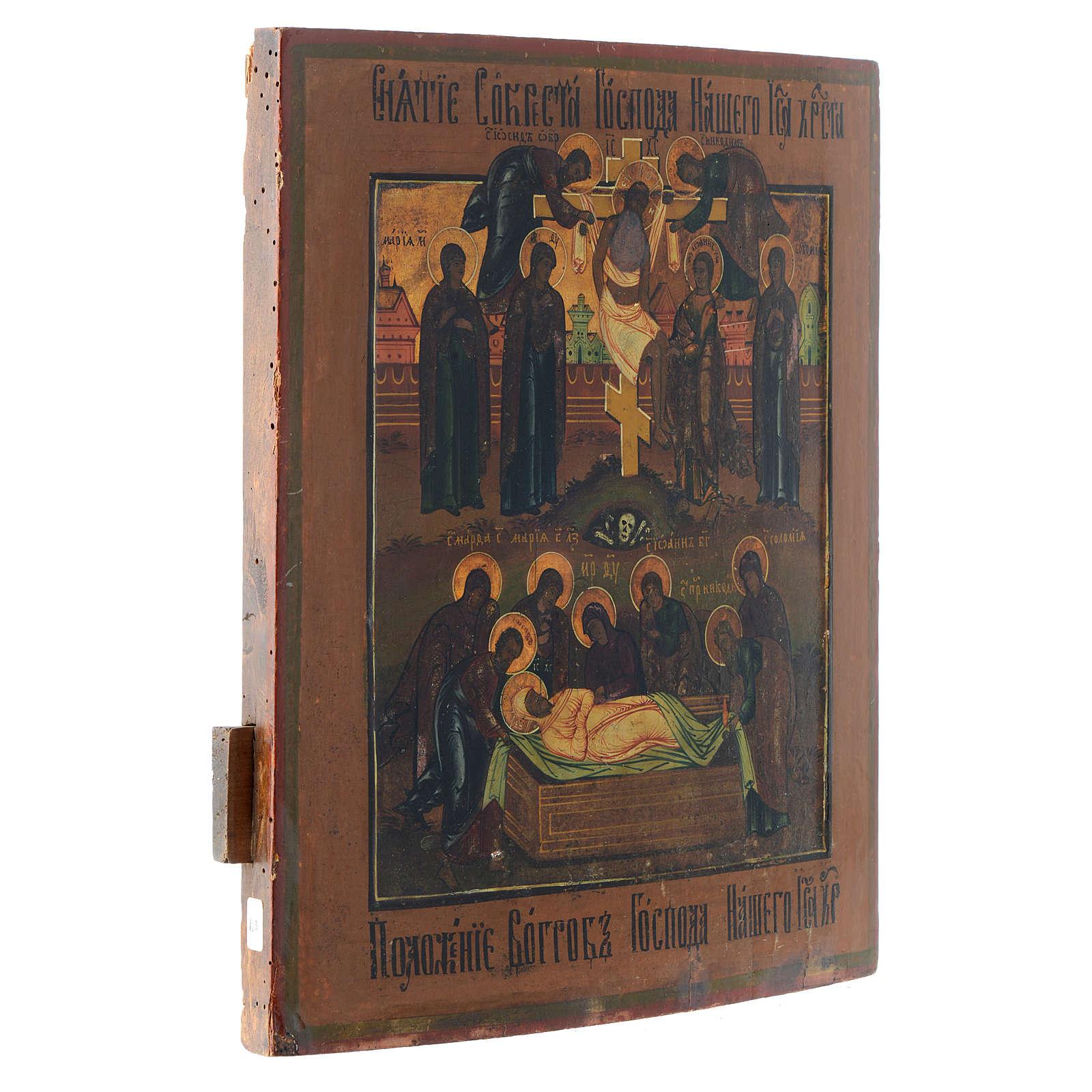 Icono antiguo ruso Descendimiento de la Cruz y Santo Entierro 4