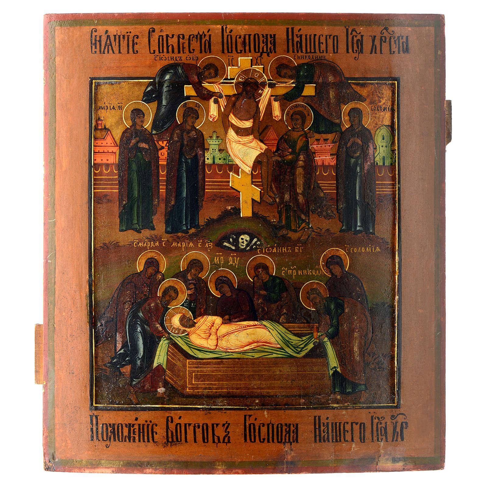 Icona antica russa Deposizione dalla croce Deposizione nel sepolcro 4