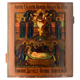 Deposition of the Cross antique Russian icon s1
