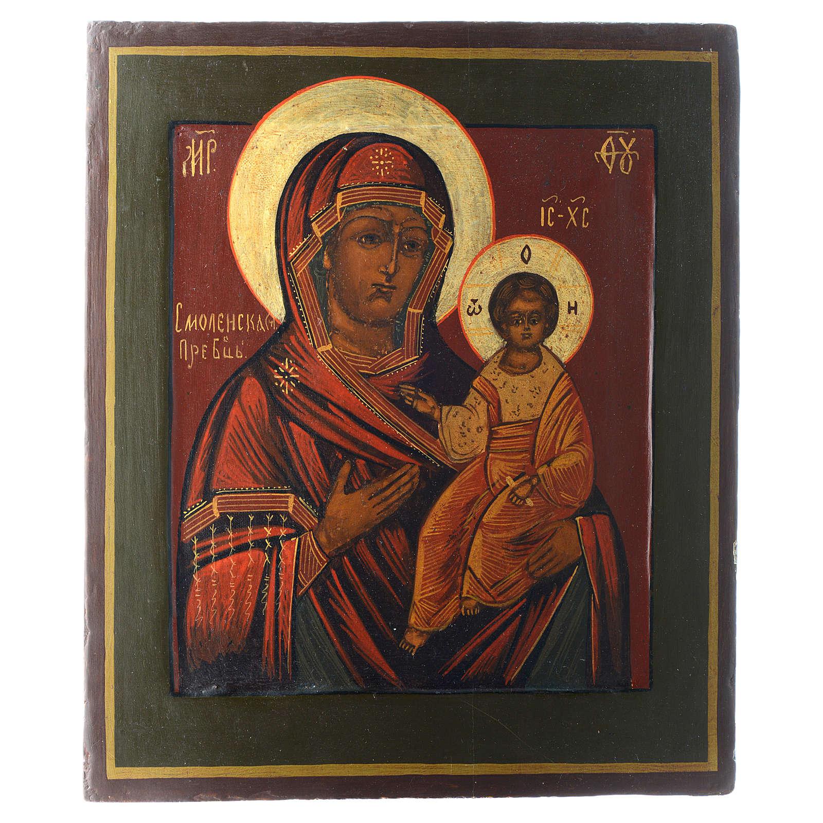 Icona Madonna Smolenskaya antica Restaurata XX secolo 30x25 4