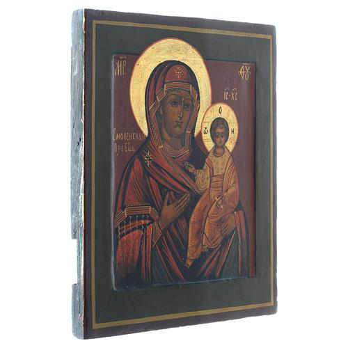 Icona Madonna Smolenskaya antica Restaurata XX secolo 30x25 3