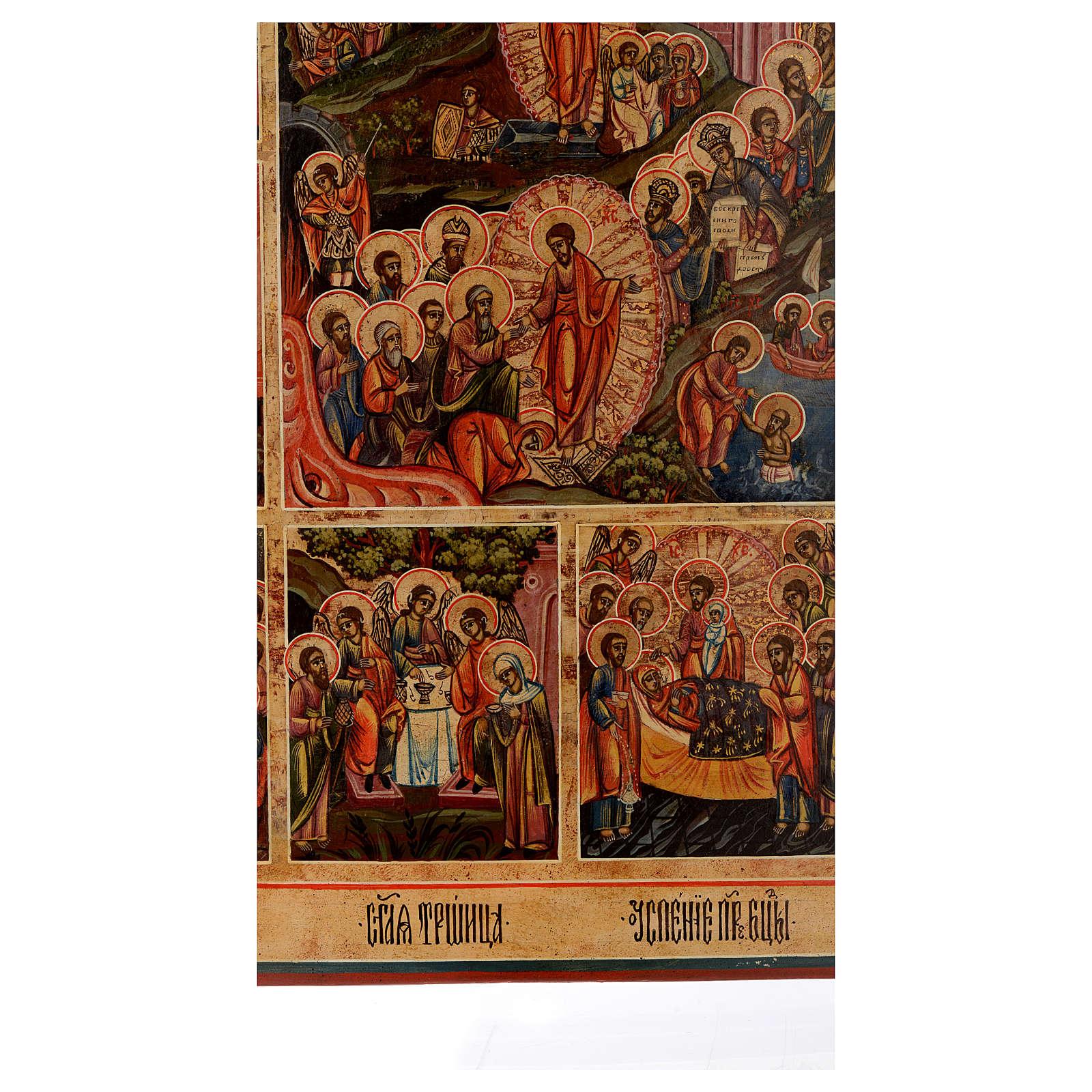 Icona le 12 feste antica Russa 54x37 cm 4