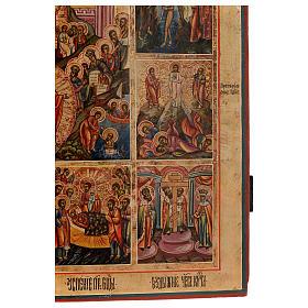 Icona le 12 feste antica Russa 54x37 cm s6