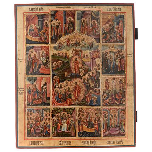 Icona le 12 feste antica Russa 54x37 cm 1