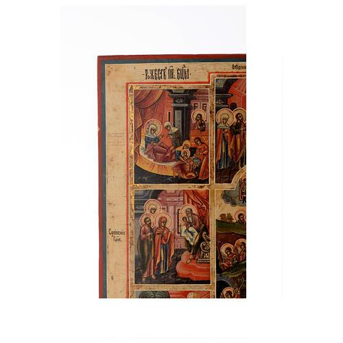 Icona le 12 feste antica Russa 54x37 cm 3